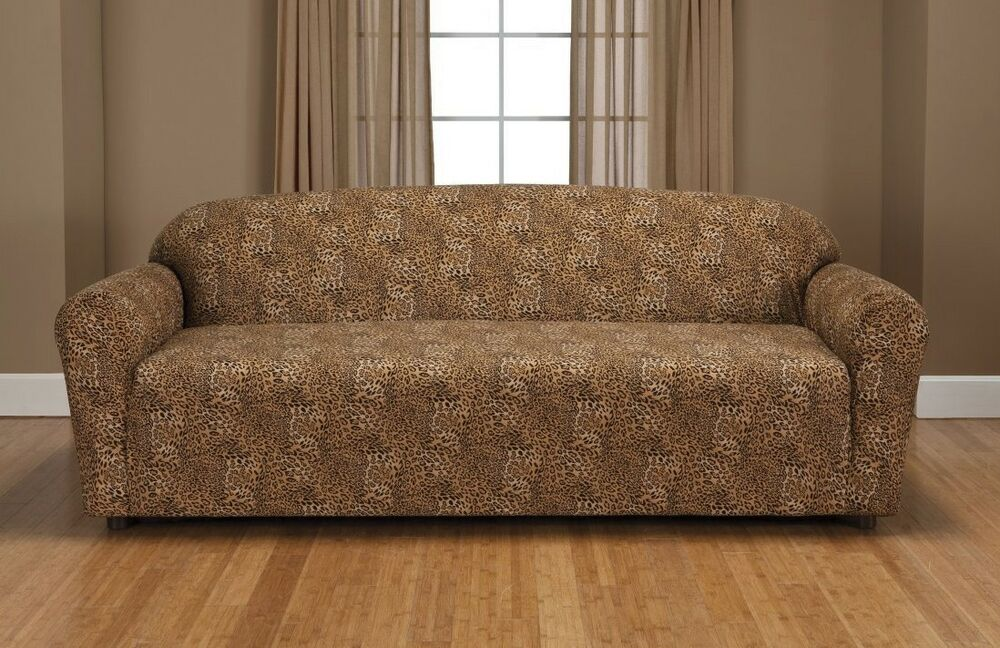LEOPARD JERSEY SOFA STRETCH SLIPCOVER, COUCH COVER, CHAIR