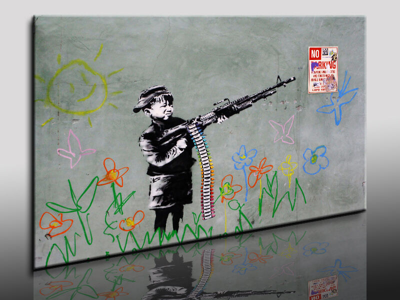 bild auf leinwand banksy graffiti street art kunstdruck wandbild k poster ebay. Black Bedroom Furniture Sets. Home Design Ideas