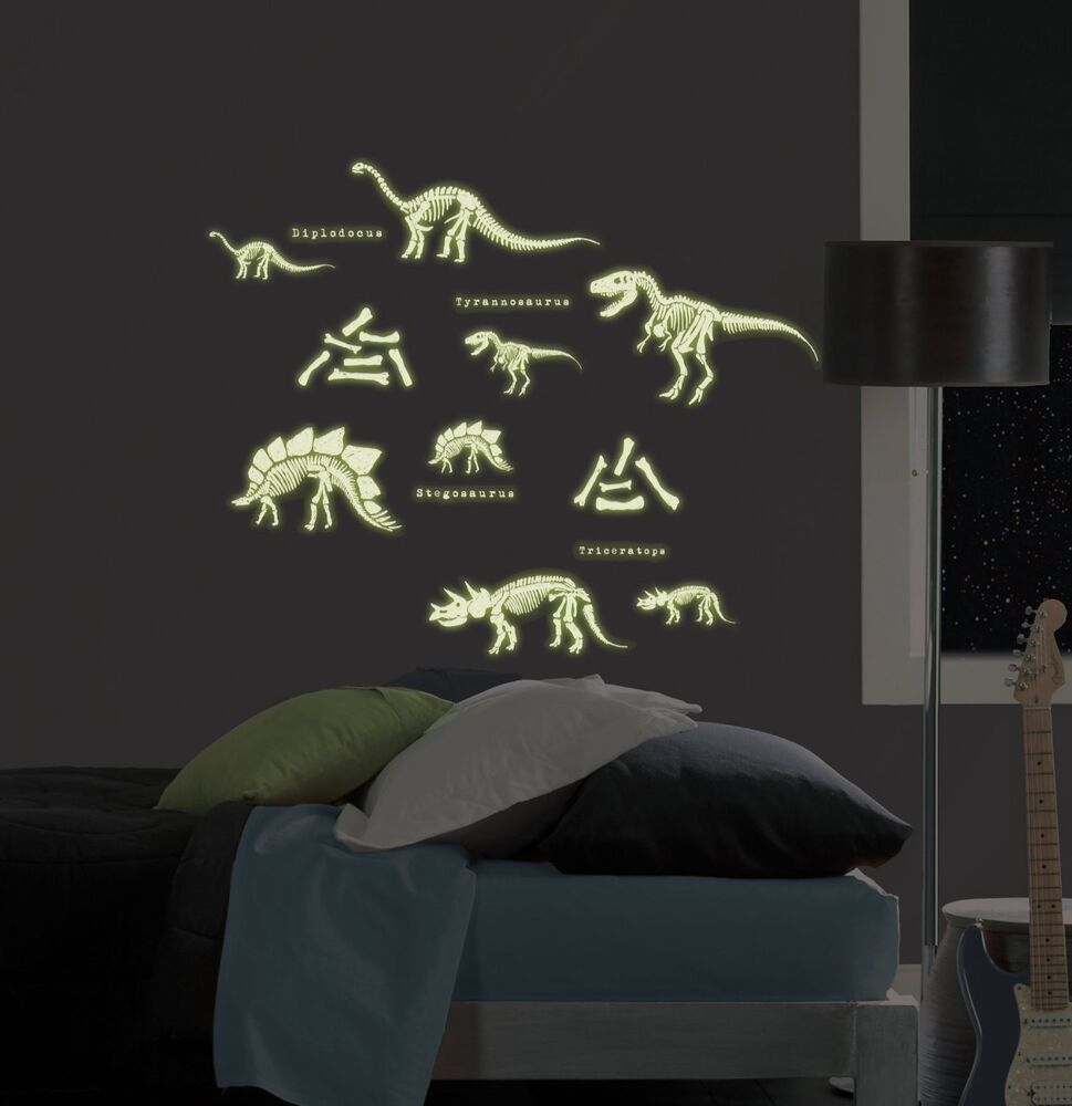 Dinosaurs 24 big wall stickers glow in the dark skeletons for Room decor stickers