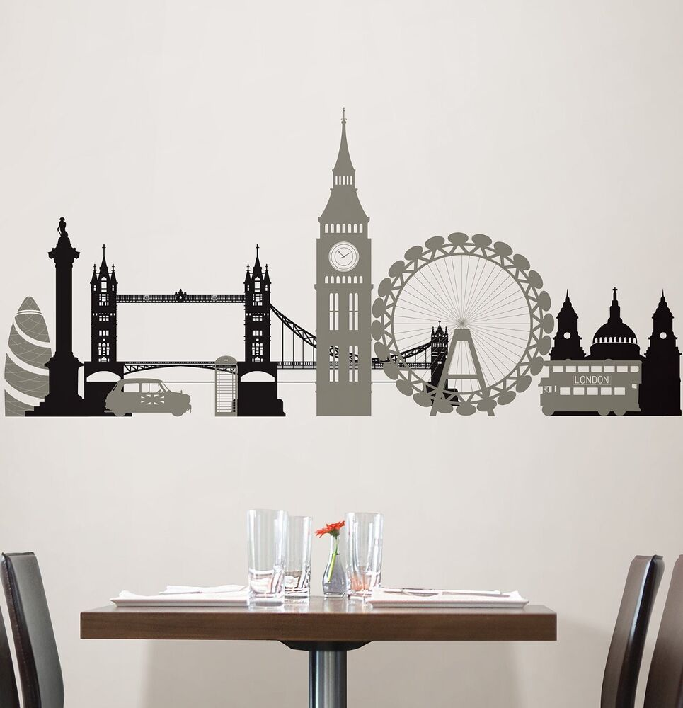 London bridge 27 wall stickers mural city buildings room for Decor mural wall art