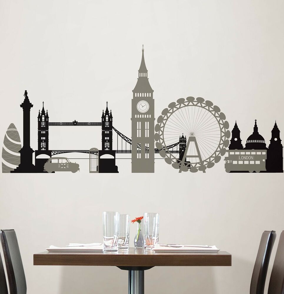 London bridge 27 wall stickers mural city buildings room for Home decorations london