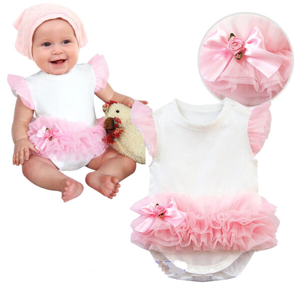 Baby Toddlers Girl Lovely Pure White Onesie Babygrows