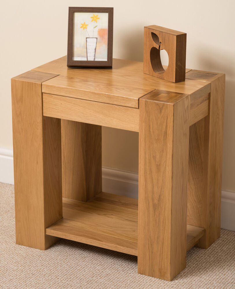Kuba solid oak wood lamp side table storage shelf wooden