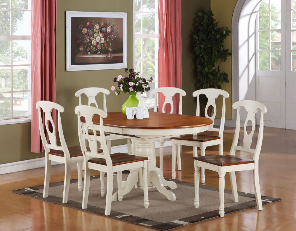 chairs for dining room table | 7 PC KENLEY OVAL DINETTE DINING ROOM SET TABLE WITH 6 ...