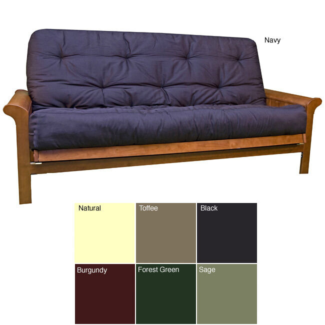 full size 8 inch thick futon cotton foam mattress green black sage many colors ebay. Black Bedroom Furniture Sets. Home Design Ideas