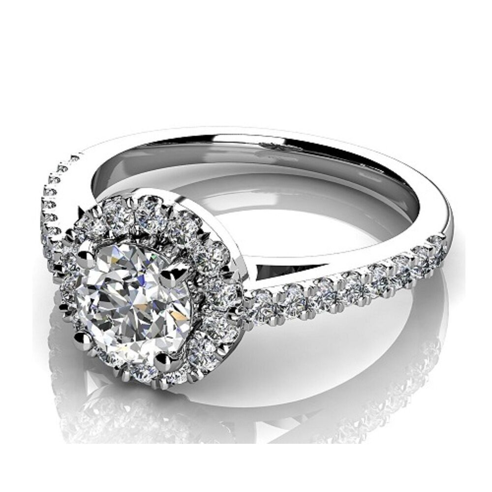 clearance platinum f vs 075ct round diamond halo set With clearance wedding ring sets