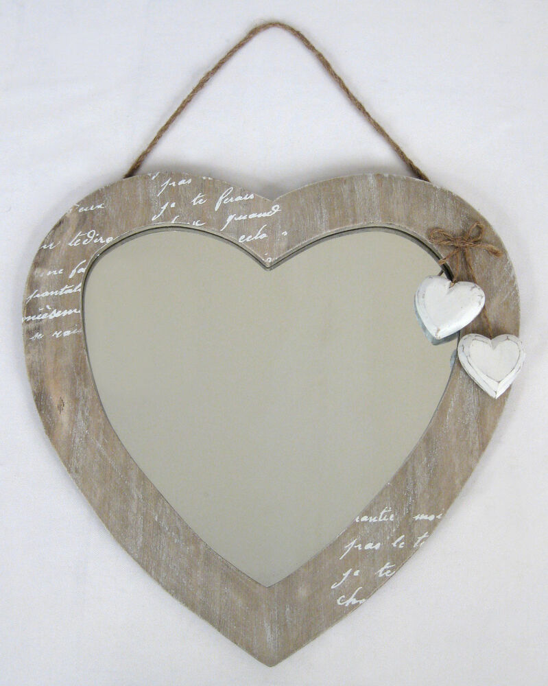 Wall hanging mirror love heart design shabby chic wood for Hanging mirror