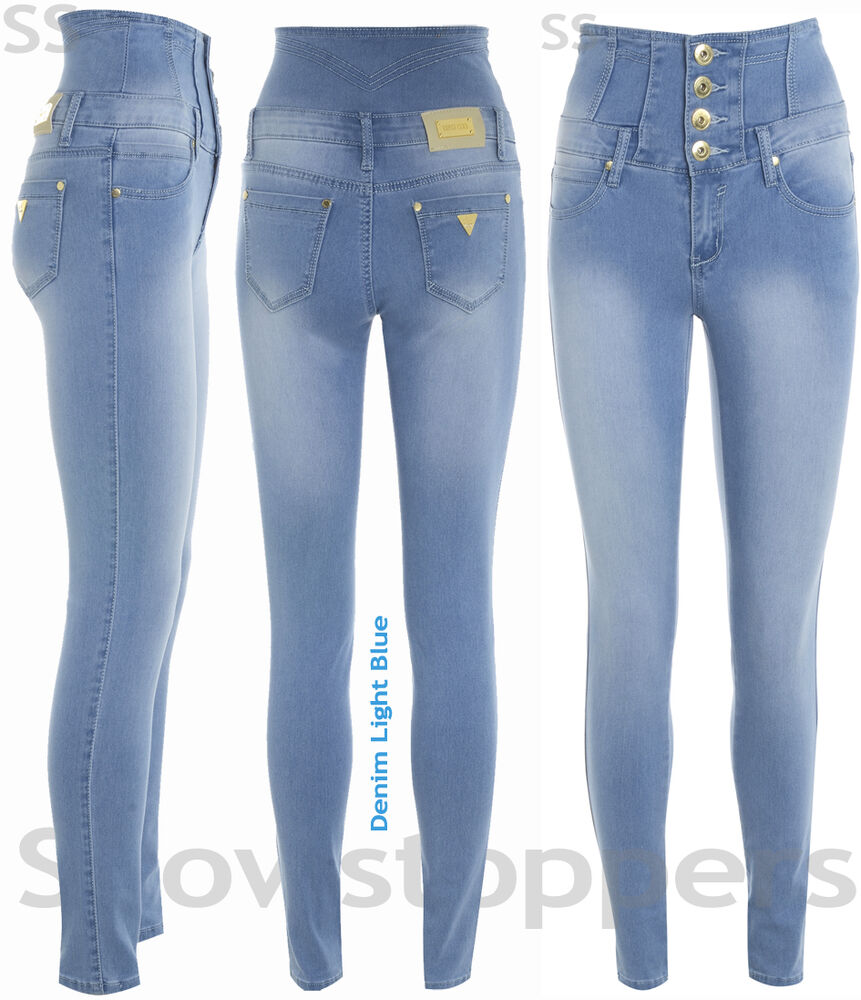 DENIM HIGH WAISTED JEANS Womens SKINNY Jeans Ladies Blue ...