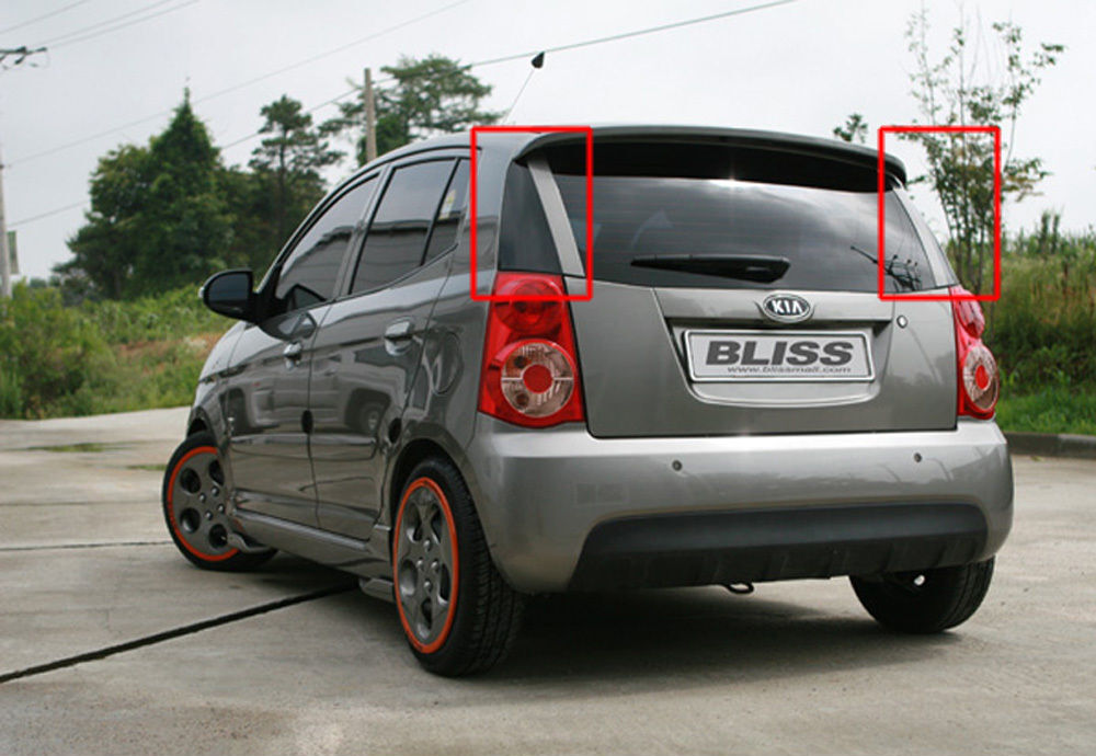 rear trunk side stickers painted 2p for 08 10 kia picanto. Black Bedroom Furniture Sets. Home Design Ideas