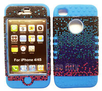 Hybrid Soft Case For Apple iPhone 4 4S Hard Cover Pink Black Diamond 2 in 1 Blue