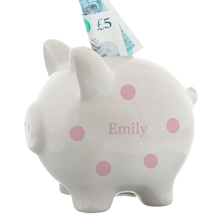 New Baby Girl Gift Ideas Uk : Personalised baby girls piggy bank money box st birthday