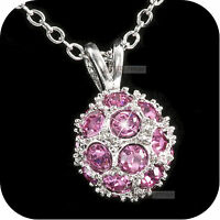 18k white gold gp made with SWAROVSKI crystal ball pendant necklace