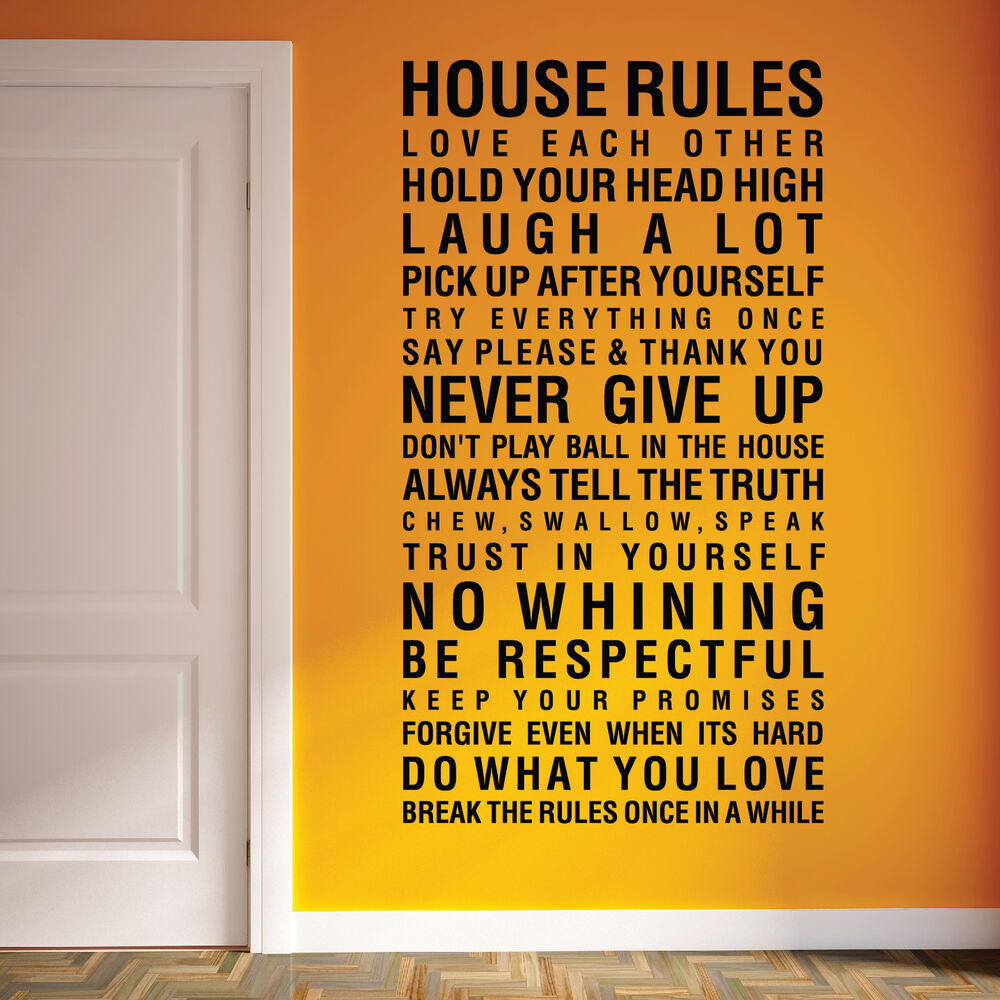 House Rules Family Love Vinyl Art Wall Stickers, Wall Quotes, Wall ...