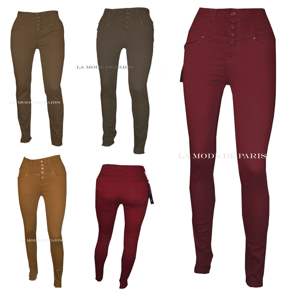 T14 NEW WOMENS SLIM FIT HIGH WAISTED SKINNY COLOURED JEANS LADIES ...