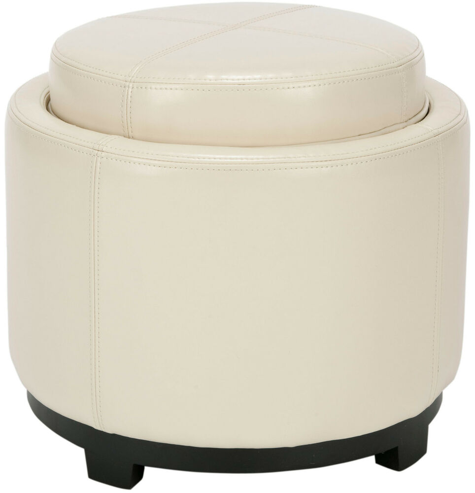safavieh single tray off white leather storage round ottoman ebay. Black Bedroom Furniture Sets. Home Design Ideas