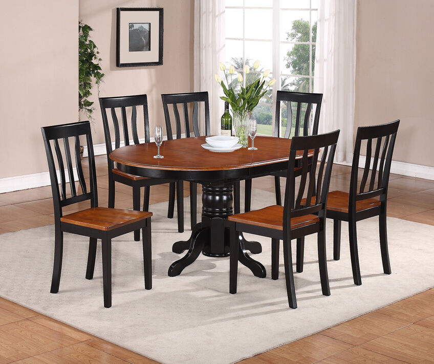 Dining Kitchen Table Sets: 7-PC OVAL DINETTE KITCHEN DINING SET TABLE W/ 6 WOOD SEAT