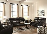 Geneva Sofa & Love Seat Casual Black 100% Bonded Leather Living Room Set Simmons
