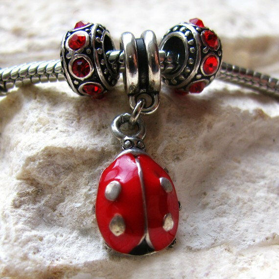 Charm Bracelets And Charms: Red Ladybug Charm And Birthstone Beads For Large Hole