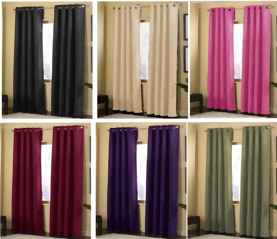 2 panels grommet solid micro suede curtain window covering for 2 window