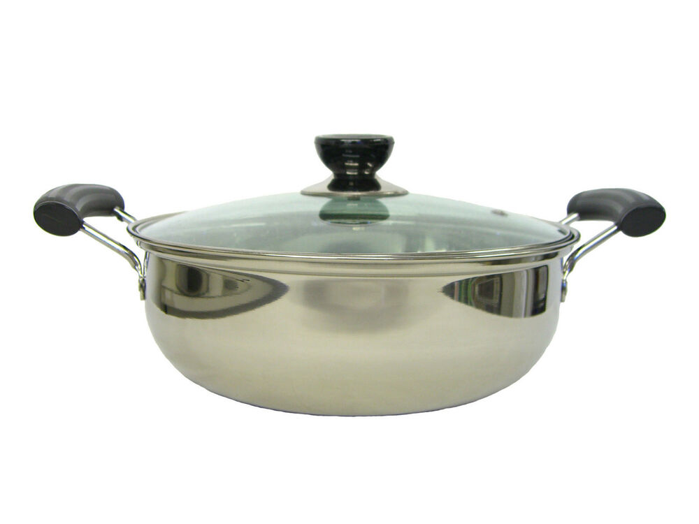 3qt 24cm stainless steel shabu cook pot with glass lid dishwasher safe jw ebay. Black Bedroom Furniture Sets. Home Design Ideas