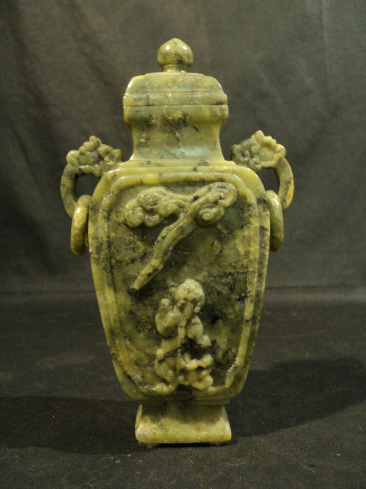 Nice vintage chinese carved green soapstone lidded vase