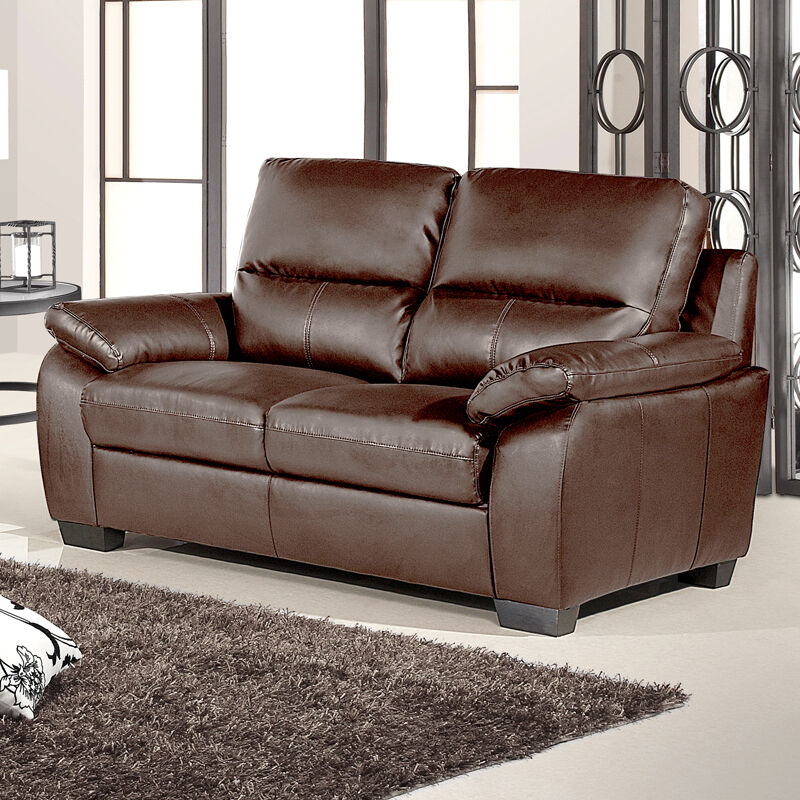 Artena 2 Seater Dark Brown Leather Sofa 1 Year Guarantee