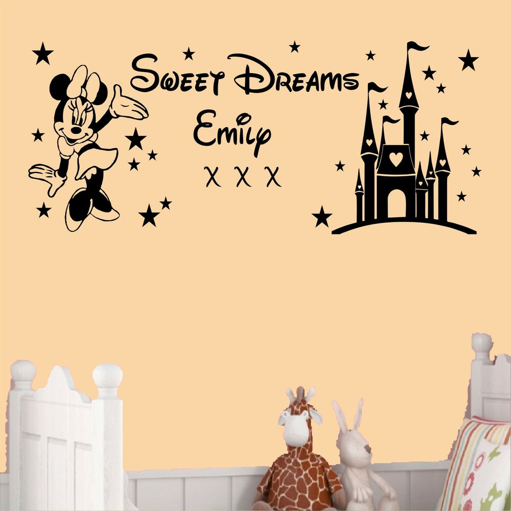 sweet dreams princess minnie mouse wall art sticker girls bedroom any name ebay. Black Bedroom Furniture Sets. Home Design Ideas