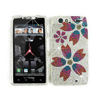 Phone Case For Motorola Droid RAZR XT912 Hard Cover Flowers On White Diamond