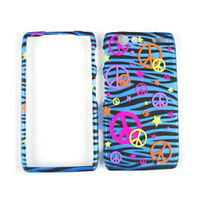 Peace Signs On Blue Zebra Print Hard Cover For Motorola Droid RAZR XT912 Case
