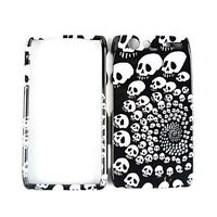 White Skulls On Black Hard Cover Case For Motorola Droid RAZR XT912 Accessory