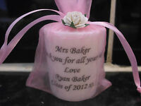 PERSONALISED CANDLE THANK YOU TEACHER, TEACHING ASSISTANT, DINNER LADY ANY NAME