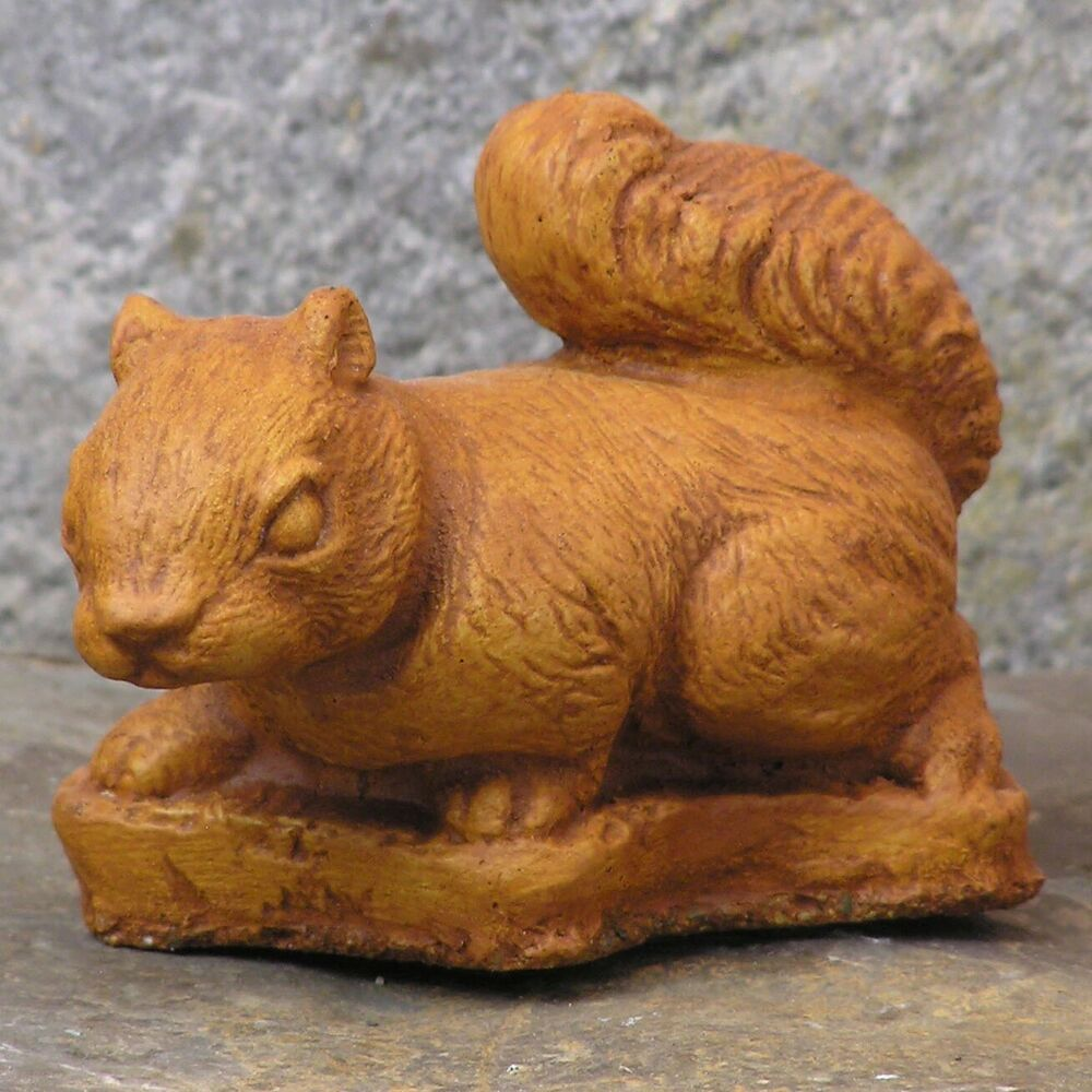 cast stone cement small squirrel outdoor garden statue