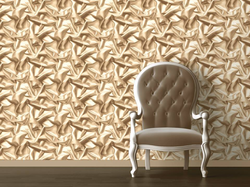 3d Crushed Velvet Silk Effect Feature Wallpaper Red Ivory