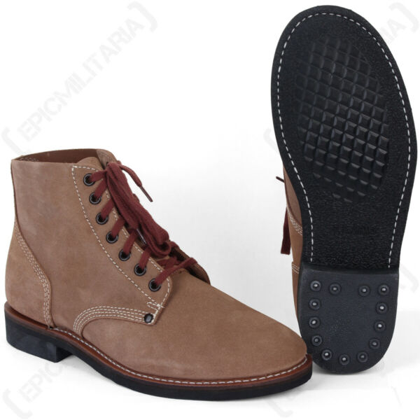 American 'Rough Out' Ankle Boots - 100% Suede Leather Low Shoes US Army New