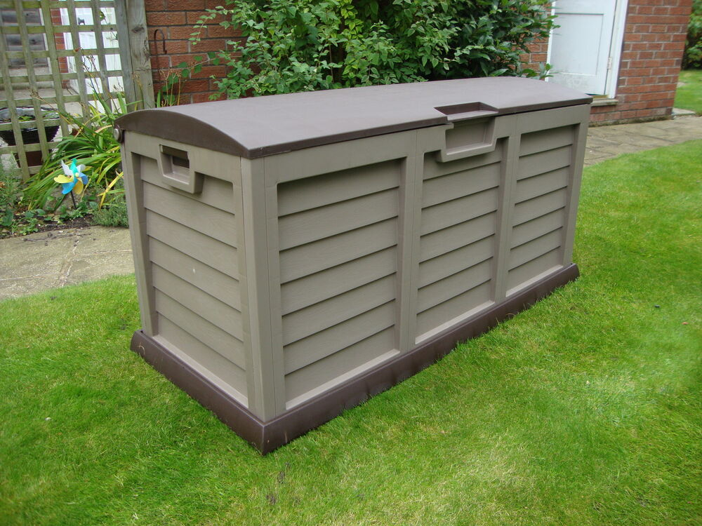 Xl Size Brown Garden Storage Utility Cushion Box Shed Plastic Fully Waterproof Ebay