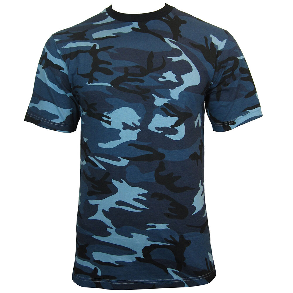 Blue urban camo army t shirt all sizes cotton camouflage for Ez custom t shirts