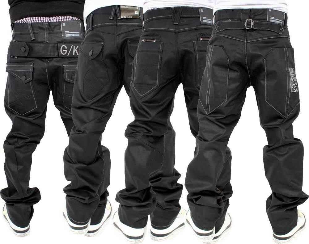 G-King Mens Boys Star Black Coated Loose Fit Jeans Baggy