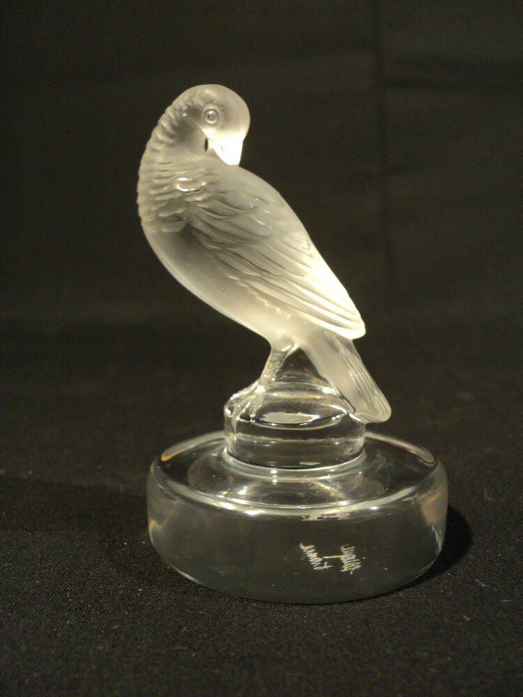 """Doves For Sale >> WONDERFUL SIGNED LALIQUE FROSTED CRYSTAL """"TURTLE DOVE"""" PAPERWEIGHT 