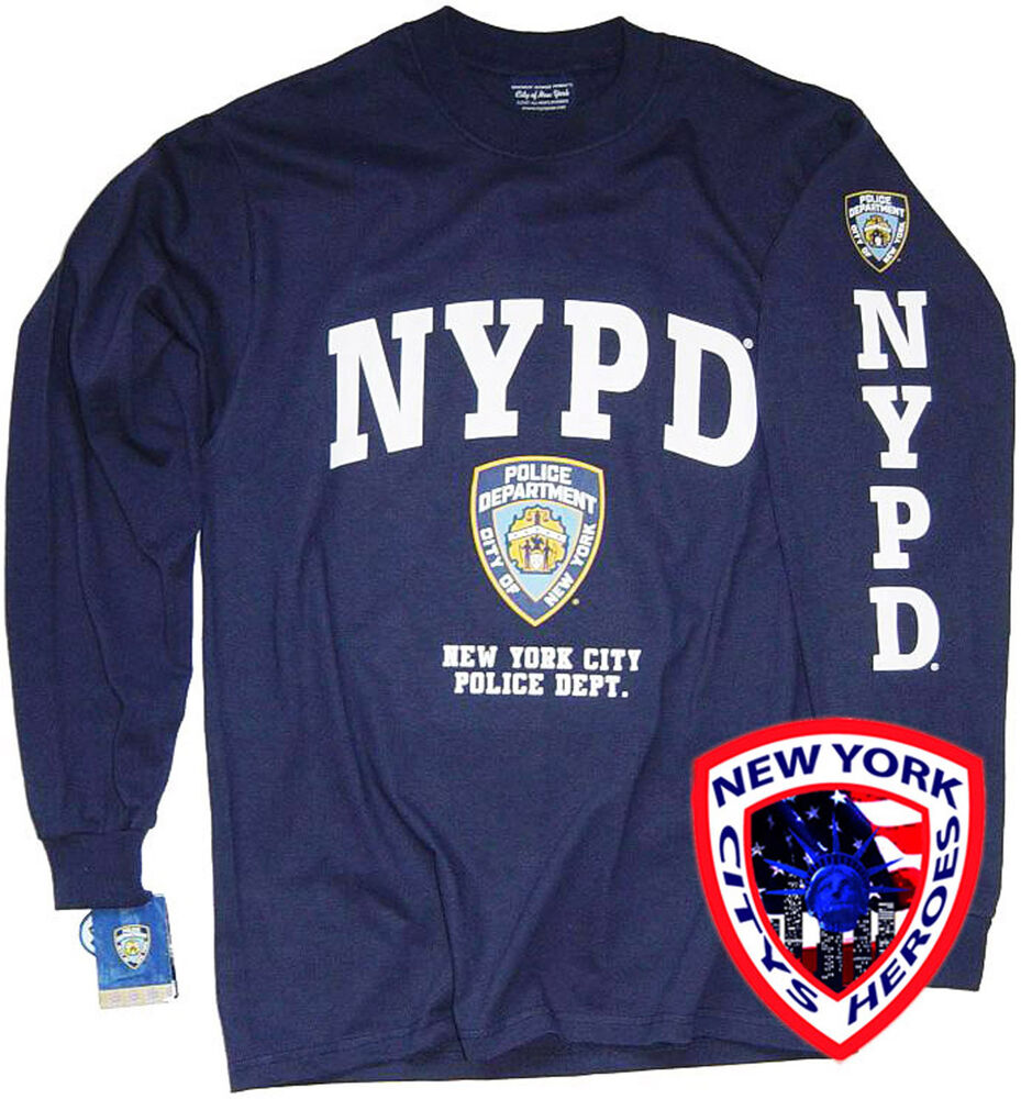 97e5630c8 NYPD T-SHIRT NAVY BLUE LONG SLEEVE OFFICIALLY LICENSED BY NEW YORK CITY |  eBay