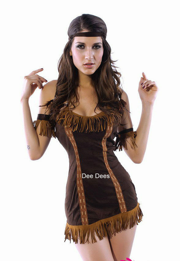 Sexy Ladies Indian Pocahontas Costume Outfit Fancy Dress -3048