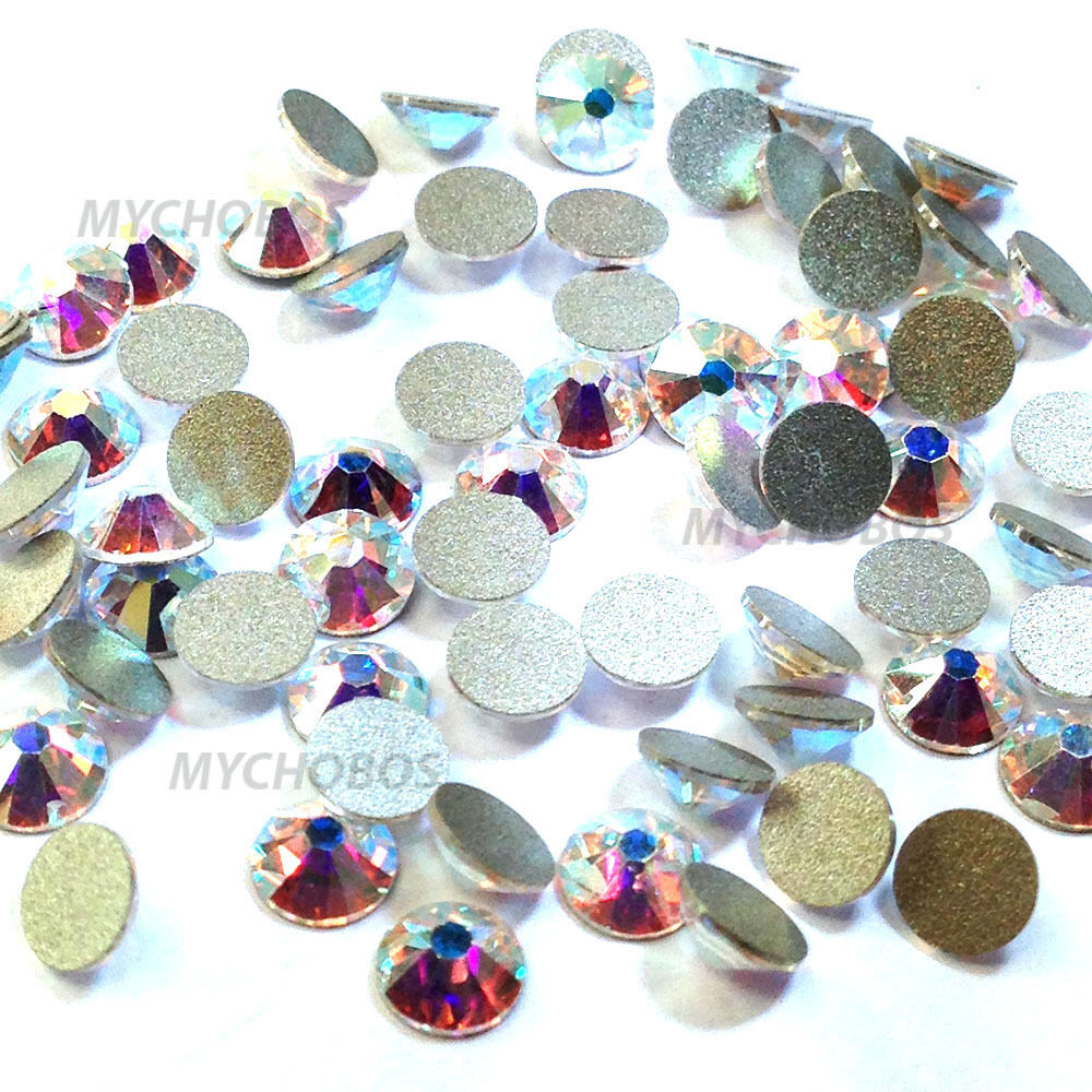 Hotfix Rhinestones. Hotfix rhinestones are very similar to flat back rhinestones except that they also include a small amount of dry adhesive along the bottom, flat side.