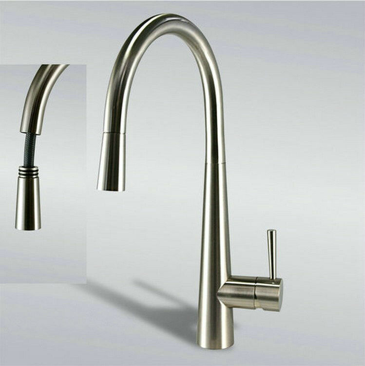 "16"" Pull Out Swivel Spout Kitchen Sink Faucet Tap Mixer"