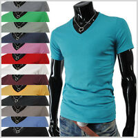 (VS01) THELEES Mens Casual Stylish Slim Fit Solids V-neck Short Sleeve Tshirts