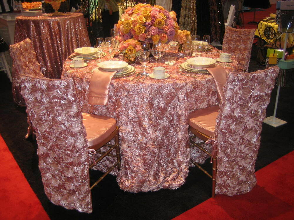 120 Quot Round Rosette Satin Tablecloth 3 Colors Ribbon
