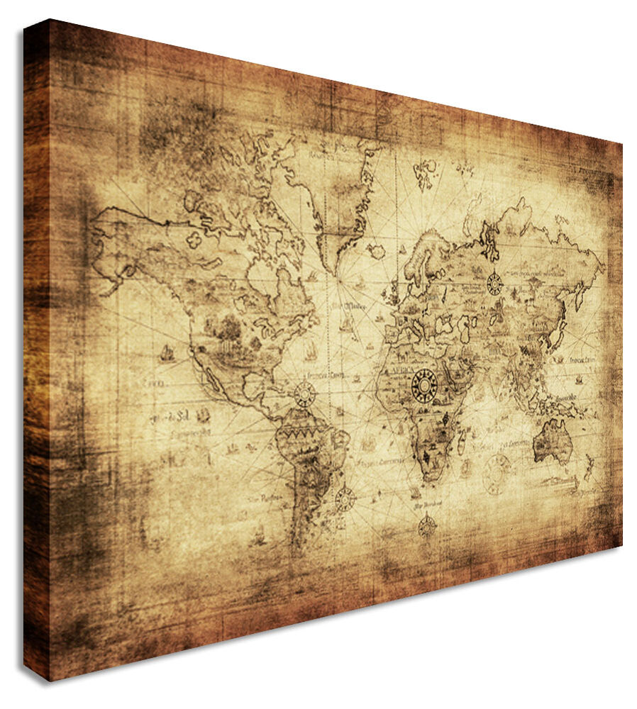 large world map vintage printed canvas wall art pictures ebay. Black Bedroom Furniture Sets. Home Design Ideas