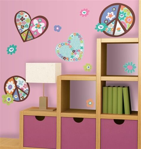 Hearts Peace Signs 12 Giant Wall Stickers Girls Flowers