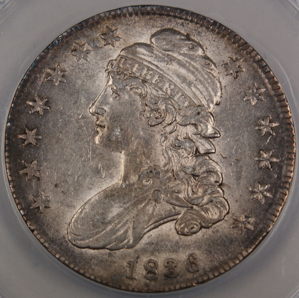 1836 Capped Bust Silver Half Dollar Anacs Au 58 Details Cleaned Ebay