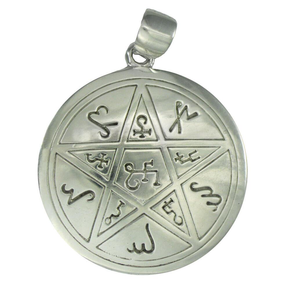 pewter earth pentacle pendant alchemical theban heremetic