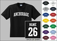 City Of Anchorage College Letter Custom Name & Number Personalized T-shirt