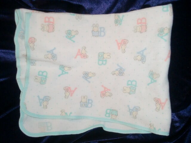 Carters Vintage Baby Blanket Thermal Cotton Bunnies Pastel